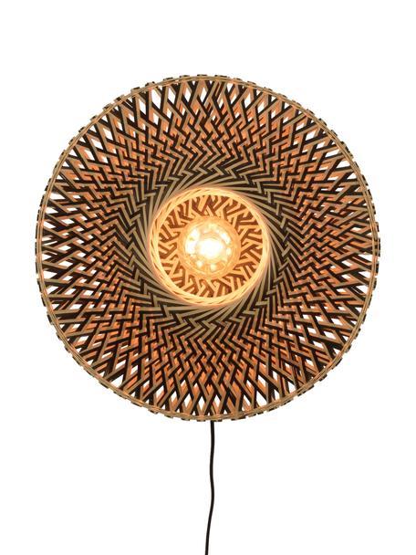 Aplique Bali, con enchufe, Pantalla: bambú, Cable: cubierto en tela, Beige, negro, Ø 44 x Al 44 cm