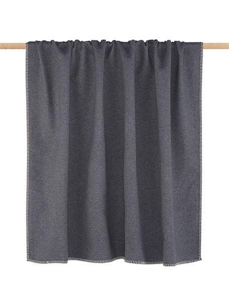 Plaid in pile Sylt in grigio con cucitura, Tessuto: Jacquard, Grigio, Larg. 140 x Lung. 200 cm