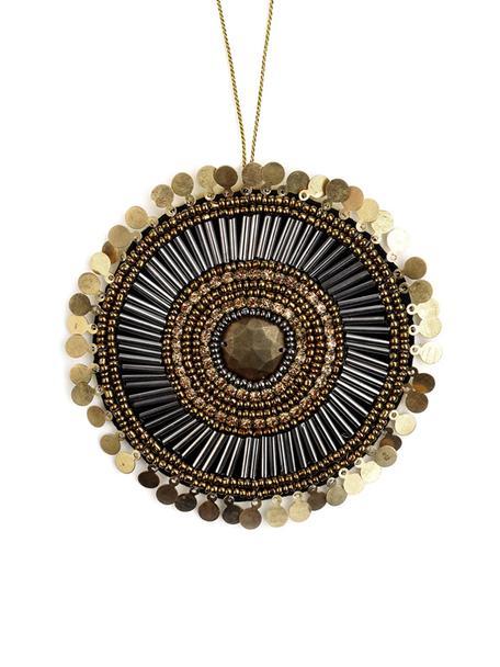 Ręcznie wykonana etykietka na prezent Gidoro, 60% szklane koraliki, 20% metal, 20% poliester, Beżowy, odcienie złotego, czarny, błyszczący, Ø 10 cm