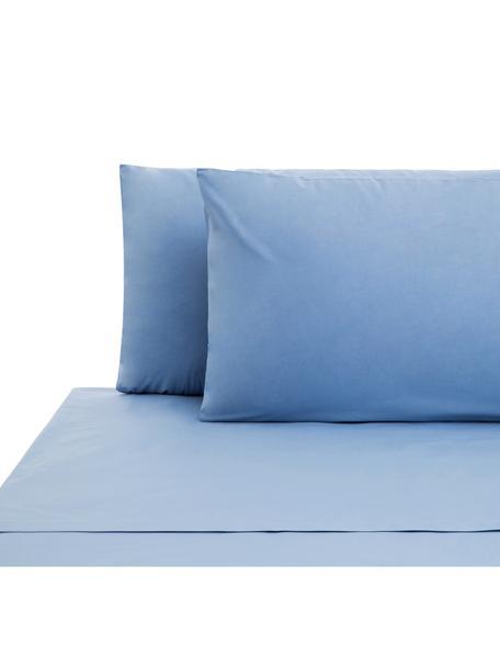 Set lenzuola in cotone ranforce Lenare, Tessuto: Renforcé, Fronte e retro: azzurro, 240 x 290 cm