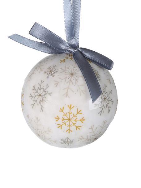 Bolas de Navidad Snowflake, 14uds., Bola de espuma de polietileno forrada de papel plastificado Caja de cartón, Blanco, mostaza, topo, Ø 8 x Al 15 cm