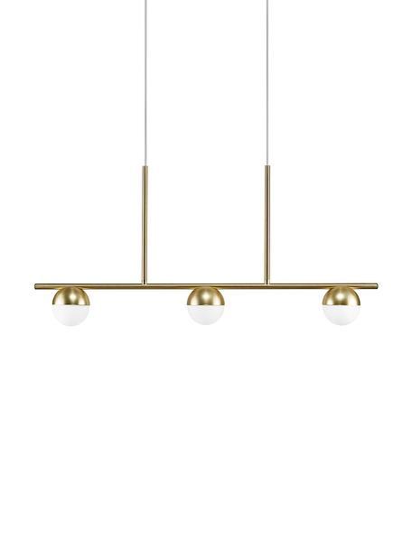 Duża lampa wisząca ze szkła opalowego Contina, Biały, odcienie mosiądzu, S 90 x W 42 cm