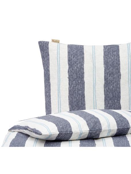 Dekbedovertrek Nautic Stripes, Weeftechniek: renforcé Draaddichtheid 1, Wit, beige, blauw, lichtblauw, 140 x 220 cm + 1 kussen 60 x 70 cm