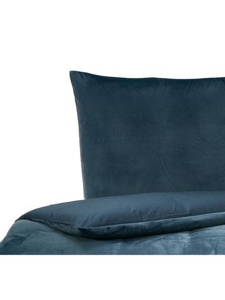 Pościel z aksamitu Tender, Niebieski, 155 x 220 cm