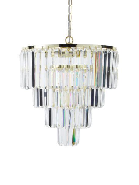 Lampadario in vetro e metallo Gracja, Paralume: vetro, Struttura: metallo, Baldacchino: metallo, Dorato, trasparente, Ø 39 x Alt. 42 cm