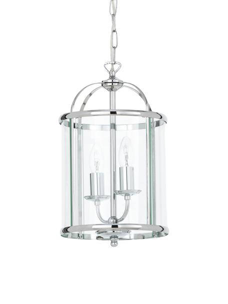 Mała lampa wisząca ze szkła Budgie, Chrom, transparentny, Ø 23 x W 41 cm