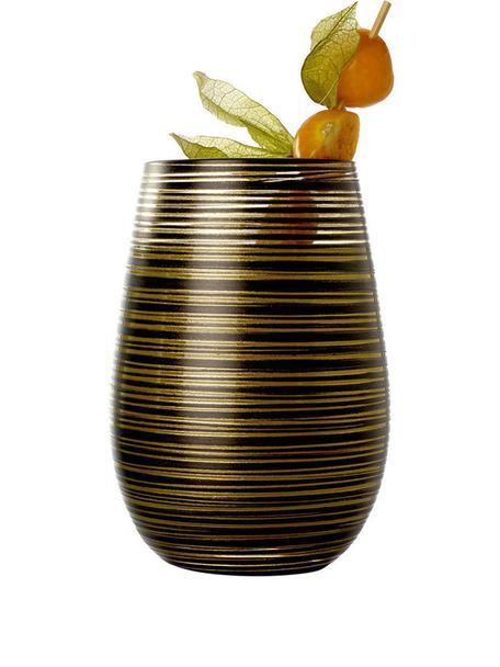 Kryształowa szklanka do koktajli  Twister, 6 szt., Szkło kryształowe, powlekane, Czarny, odcienie złotego, Ø 9 x W 12 cm