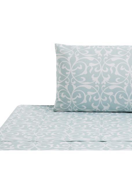 Set lenzuola in cotone Sola, Cotone, Azzurro, bianco, 160 x 270 cm
