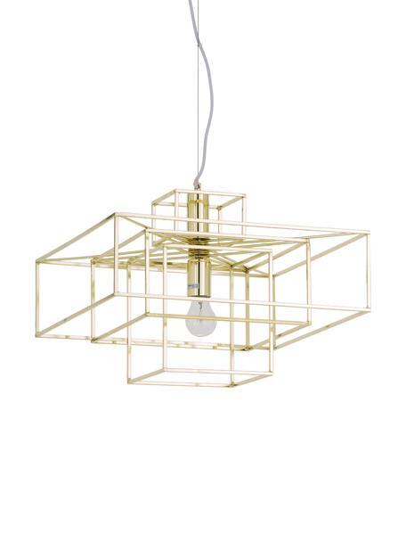 Pendelleuchte Cube in Gold, Lampenschirm: Metall, vermessingt, Baldachin: Metall, vermessingt, Messing, 46 x 50 cm