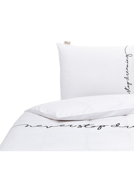 Dubbelzijdig renforcé dekbedovertrek Never Stop Dreaming, Weeftechniek: renforcé, Wit, zwart, 140 x 220 cm