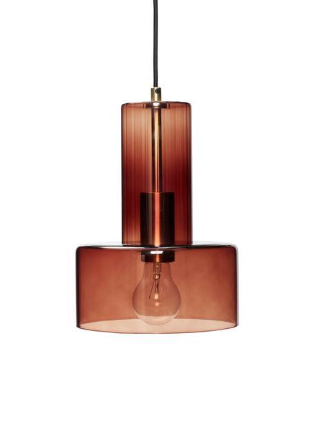Kleine hanglamp Flowy van glas, Lampenkap: glas, geverfd, Bruin, transparant, Ø 20 x H 27 cm