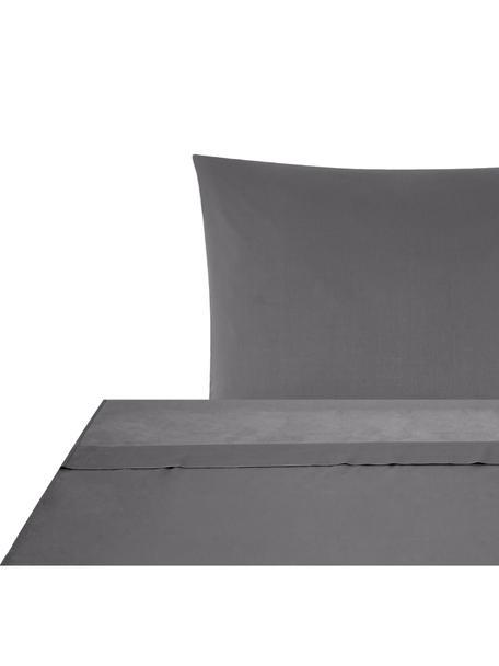 Set lenzuola in raso di cotone Comfort, Tessuto: raso Densità del filo 250, Grigio scuro, 150 x 300 cm