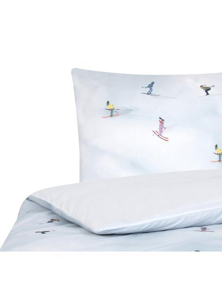 Designer Baumwollperkal-Bettwäsche Ski von Kera Till, Webart: Perkal Fadendichte 180 TC, Weiss, Mehrfarbig, 135 x 200 cm + 1 Kissen 80 x 80 cm