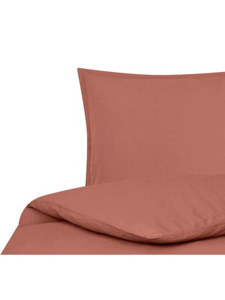 Parure copripiumino in lino lavato Nature, 52% lino, 48% cotone Con effetto stonewash per una presa morbida, Terracotta, 155 x 200 cm
