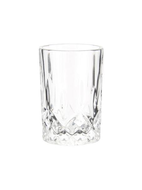 Schnapsgläser Harvey mit Reliefmuster, 4er-Set, Glas, Transparent, Ø 4 x H 6 cm