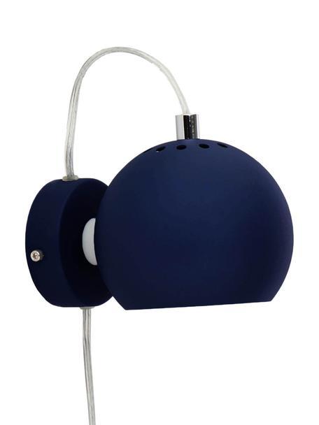Wandleuchte Ball mit Stecker, Lampenschirm: Metall, lackiert, Dunkelblau, matt, 12 x 12 cm