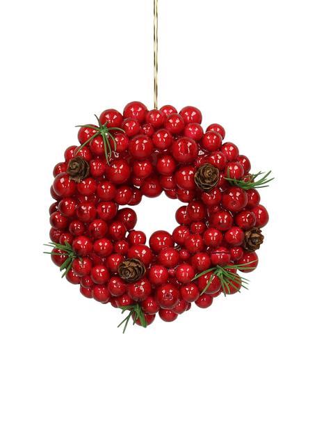 Adornos navideños Wreath, 2 uds., Rojo, verde, marrón, Ø 11 cm