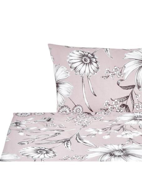 Set lenzuola in cotone Field, Cotone, Rosa cipria, grigio, bianco, 160 x 200 cm