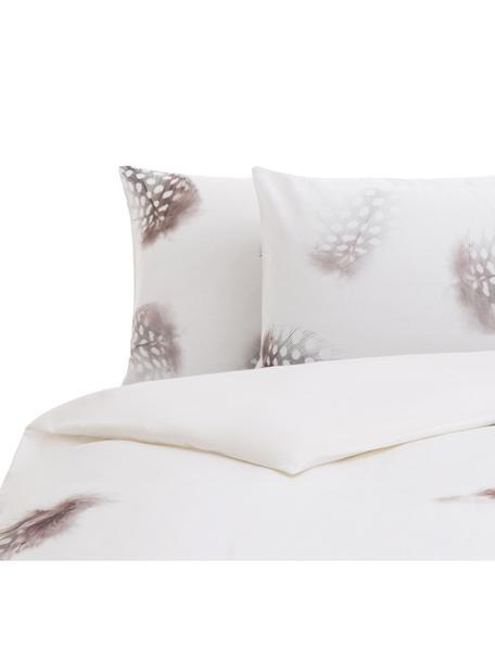 Parure copripiumino reversibile in cotone Light, Cotone, Bianco, marrone, grigio, 200 x 200 cm