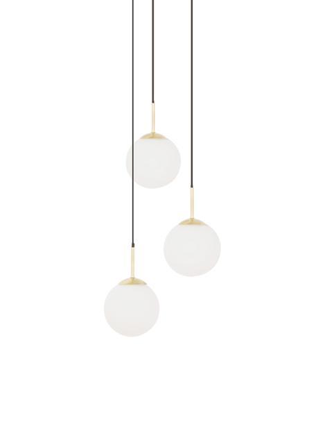 Lampa wisząca ze szkła Edie, Biały, mosiądz, Ø 30 cm