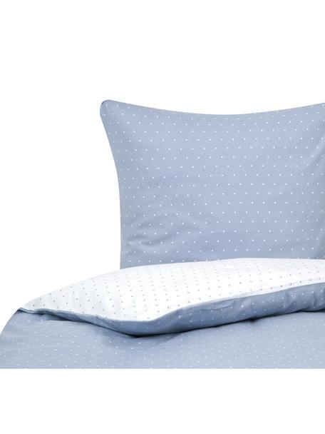 Flanell-Wendebettwäsche Betty, gepunktet, Webart: Flanell Flanell ist ein k, Hellblau, Weiß, 135 x 200 cm + 1 Kissen 80 x 80 cm