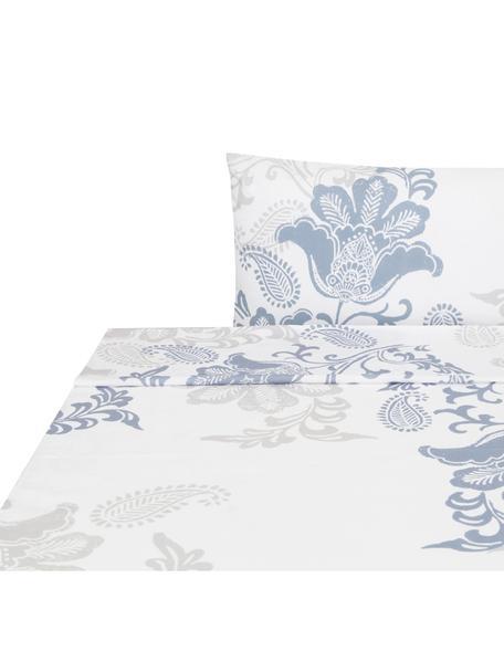 Sábana encimera Camille, Algodón, Blanco, azul, gris, Cama 90 cm (160 x 270 cm)