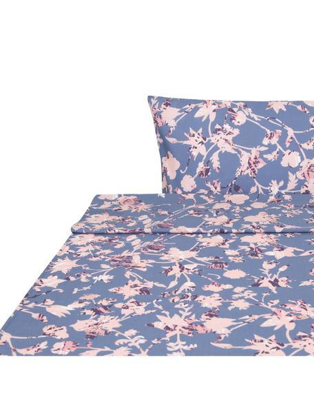 Sábana encimera Lines , Algodón, Azul, tonos rosas, Cama 90 cm (160 x 270 cm)