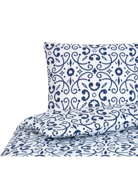 Pościel z bawełny Ashley, Biały, niebieski, 135 x 200 cm + 1 poduszka 80 x 80 cm