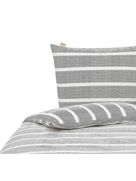 Gestreifte Baumwoll-Bettwäsche Stripe Along, Webart: Renforcé Renforcé besteht, Anthrazit, Weiß, 135 x 200 cm + 1 Kissen 80 x 80 cm