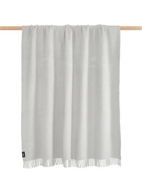 Manta con estructura gofre Sara, 50%algodón, 50%acrílico, Gris, An 140 x L 180 cm