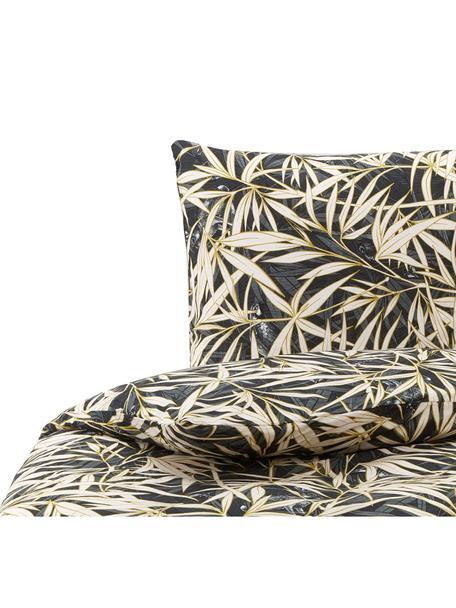 Baumwoll-Bettwäsche Hy Spy mit tropischem Print, 100% Baumwolle  Fadendichte 144 TC, Standard Qualität  Bettwäsche aus Baumwolle fühlt sich auf der Haut angenehm weich an, nimmt Feuchtigkeit gut auf und eignet sich für Allergiker., Grüntöne, Creme, 155 x 220 cm + 1 Kissen 80 x 80 cm