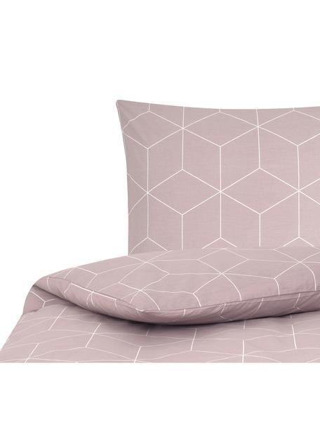 Funda nórdica de tejido renforcé Lynn, Rosa palo, blanco crema, Cama 90 cm (150 x 220 cm)