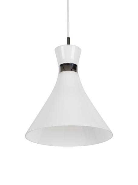 Kleine Pendelleuchte Trumpet aus Glas, Lampenschirm: Glas, Weiß, Chrom, Ø 26 x H 35 cm