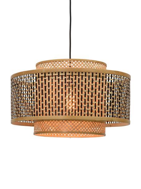 Lámpara de techo de bambú Bhutan, Pantalla: bambú, Anclaje: metal recubierto, Cable: cubierto en tela, Beige, negro, Ø 50 x Al 30 cm