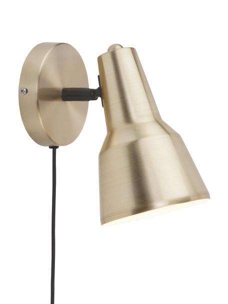 Wandleuchte Valencia mit Stecker, Lampenschirm: Metall, lackiert, Gestell: Metall, lackiert, Goldfarben, 13 x 20 cm