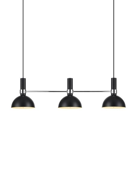 Lámpara de techo Larry, Estructura: latón cromado, Anclaje: latón pintado, Cable: cubierto en tela, Negro, cromo, An 100 x Al 24 cm