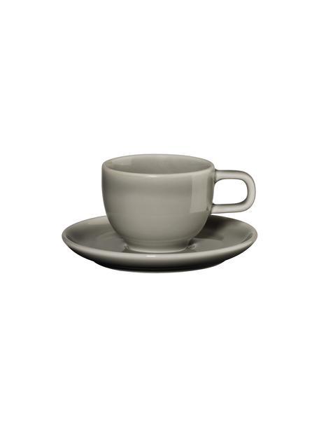 Tazzina da caffè con piattino grigio lucido Kolibri 6 pz, Porcellana, Grigio, Ø 6 x Alt. 6 cm