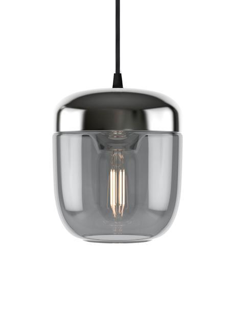 Kleine Pendelleuchte Acorn aus Glas, Baldachin: Silikon, Grau, Aluminium, Ø 14 cm x H 16 cm