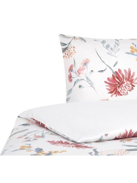 Baumwollsatin-Bettwäsche Evie mit Aquarell Blumen-Muster, Webart: Satin Fadendichte 210 TC,, Vorderseite: Floraler DruckRückseite: Weiß, 135 x 200 cm + 1 Kissen 80 x 80 cm
