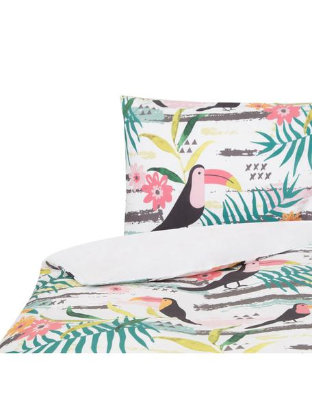 Funda nórdica doble cara Toucan, Algodón, Blanco, multicolor, Cama 90 cm (160 x 220 cm)