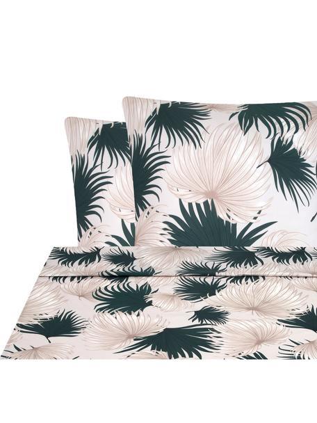 Set lenzuola in raso di cotone Aloha, Tessuto: raso, Fronte: beige, verde Retro: beige, 240 x 300 cm