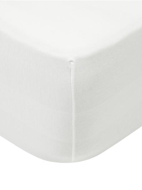 Jersey boxspring hoeslaken Lara, 95% katoen, 5% elastaan, Crèmekleurig, 90 x 200 cm