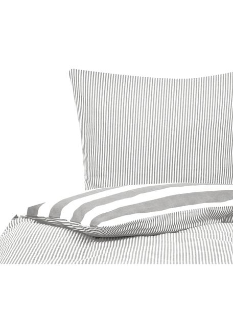 Flanell-Wendebettwäsche Dora, gestreift, Webart: Flanell Flanell ist ein k, Weiss, Grau, 135 x 200 cm + 1 Kissen 80 x 80 cm