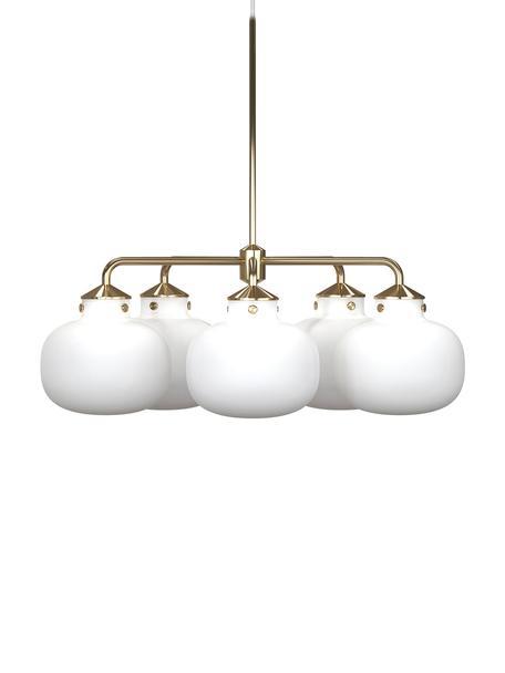 Lampada a sospensione Raito, Vetro opale, metallo, Bianco opalino, ottone, Ø 67 x Alt. 55 cm