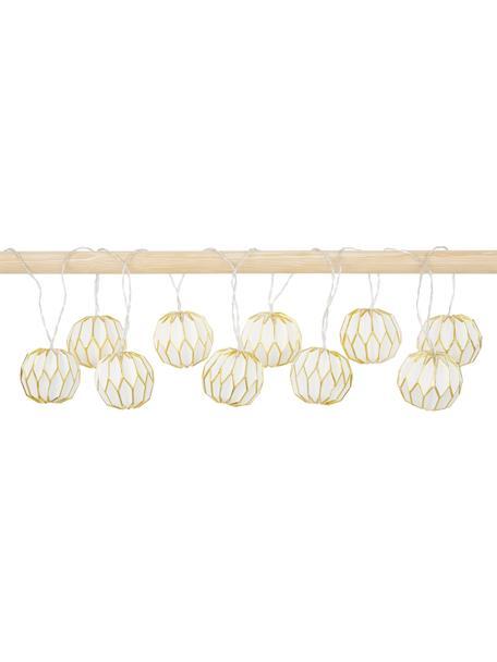 Ghirlanda a LED Origam, 275 cm, 10 lampioni, Lanterne: carta, Bianco, dorato, Lung. 275 cm