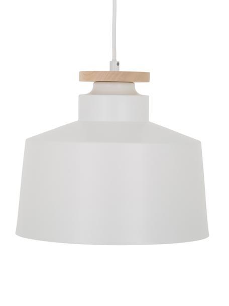 Skandi-Pendelleuchte Malm, Lampenschirm: Metall, Holz, Baldachin: Metall, Weiß, Ø 30 x H 26 cm