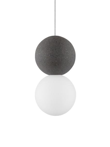 Kleine Pendelleuchte Zero aus Opalglas, Lampenschirm: Terrazzo, Opalglas, Baldachin: Aluminium, beschichtet, Weiss, Grau, Ø 10 cm x H 20 cm