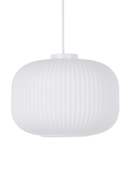 Pendelleuchte Milford aus Opalglas, Lampenschirm: Opalglas, Baldachin: Kunststoff, Weiss, Ø 30 cm x H 28 cm