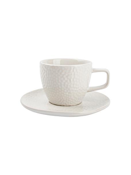 Espressotassen Mielo mit Untertassen und strukturiertem Muster, 4er-Set, Steingut, Weiß, Ø 12 x H 7 cm