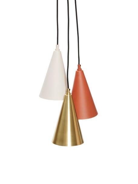 Kleine cluster hanglamp Tonte van metaal, Baldakijn: messing, Bruin, beige, messingkleurig, Ø 14 x H 23 cm